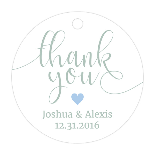 Thank you tags 'Whimsical Pastels' - Steel blue - Dazzling Daisies