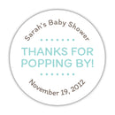 "Thanks for popping by stickers - 1.5"" circle = 30 labels per sheet / Aquamarine - Dazzling Daisies"
