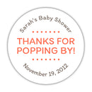 "Thanks for popping by stickers - 1.5"" circle = 30 labels per sheet / Coral - Dazzling Daisies"