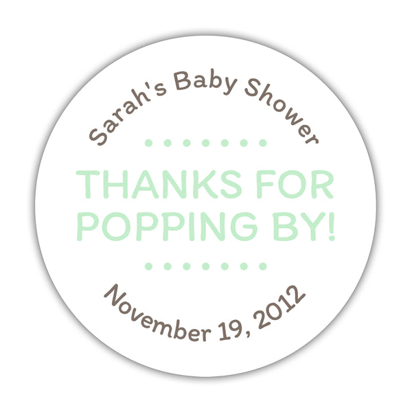 "Thanks for popping by stickers - 1.5"" circle = 30 labels per sheet / Mint - Dazzling Daisies"