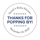 "Thanks for popping by stickers - 1.5"" circle = 30 labels per sheet / Navy - Dazzling Daisies"