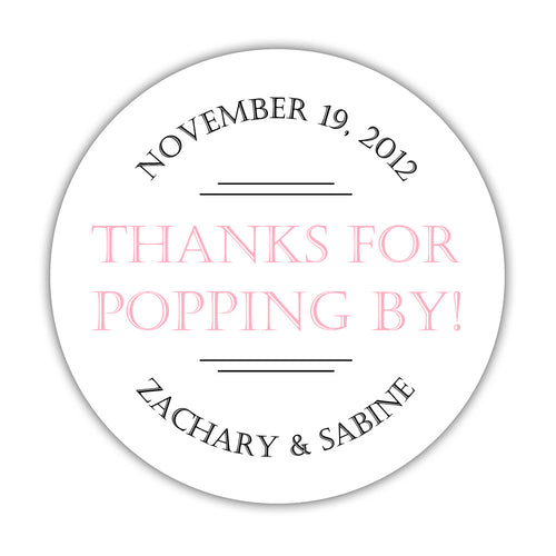 "Thanks for popping by stickers 'Classic Charm' - 1.5"" circle = 30 labels per sheet / Pink - Dazzling Daisies"