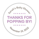 "Thanks for popping by stickers - 1.5"" circle = 30 labels per sheet / Plum - Dazzling Daisies"