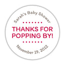 "Thanks for popping by stickers - 1.5"" circle = 30 labels per sheet / Raspberry - Dazzling Daisies"