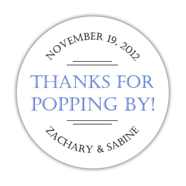 "Thanks for popping by stickers 'Classic Charm' - 1.5"" circle = 30 labels per sheet / Royal blue - Dazzling Daisies"