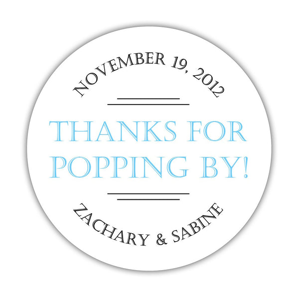 "Thanks for popping by stickers 'Classic Charm' - 1.5"" circle = 30 labels per sheet / Sky blue - Dazzling Daisies"