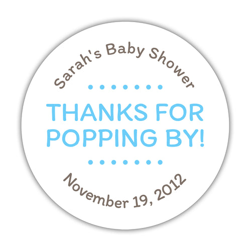 "Thanks for popping by stickers - 1.5"" circle = 30 labels per sheet / Sky blue - Dazzling Daisies"