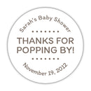 "Thanks for popping by stickers - 1.5"" circle = 30 labels per sheet / Taupe - Dazzling Daisies"