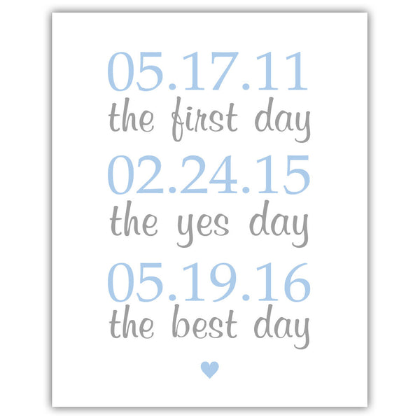 "The first day sign - 5x7"" / Steel blue - Dazzling Daisies"