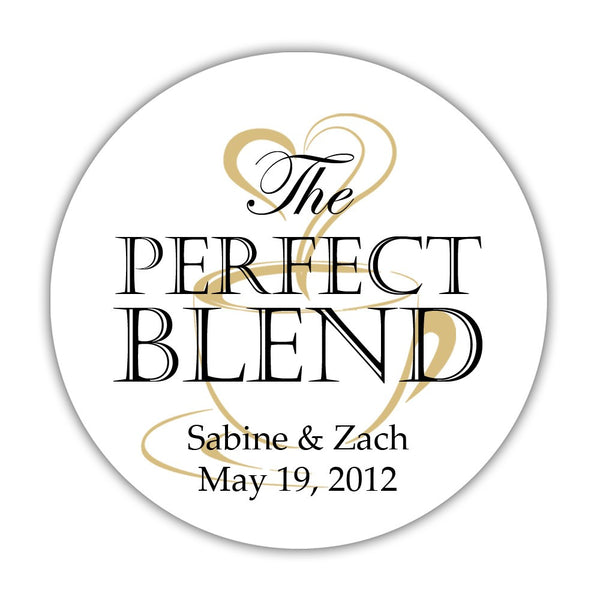 "The perfect blend stickers - 1.5"" circle = 30 labels per sheet / Black/Gold - Dazzling Daisies"