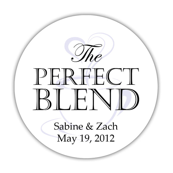 "The perfect blend stickers - 1.5"" circle = 30 labels per sheet / Black/Lavender - Dazzling Daisies"