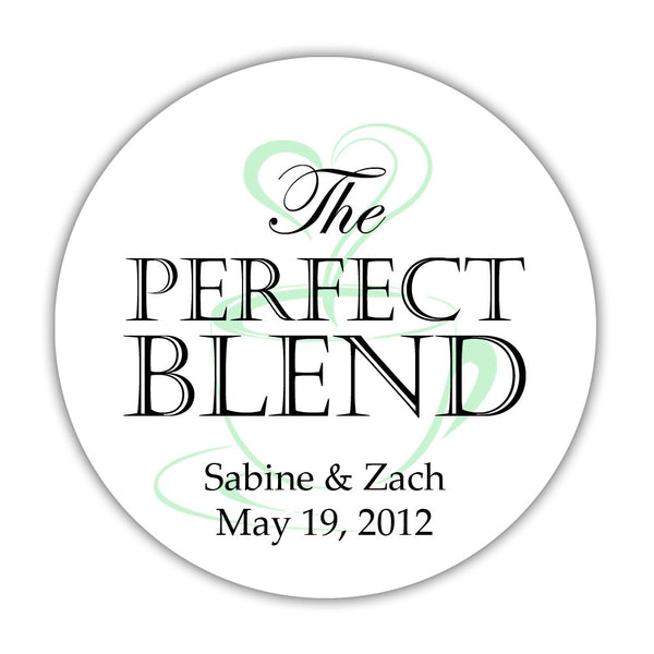 "The perfect blend stickers - 1.5"" circle = 30 labels per sheet / Black/Mint - Dazzling Daisies"