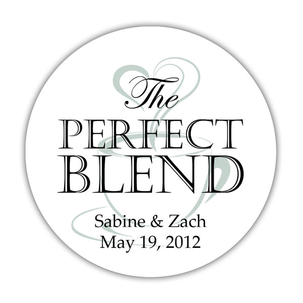 "The perfect blend stickers - 1.5"" circle = 30 labels per sheet / Black/Sage - Dazzling Daisies"