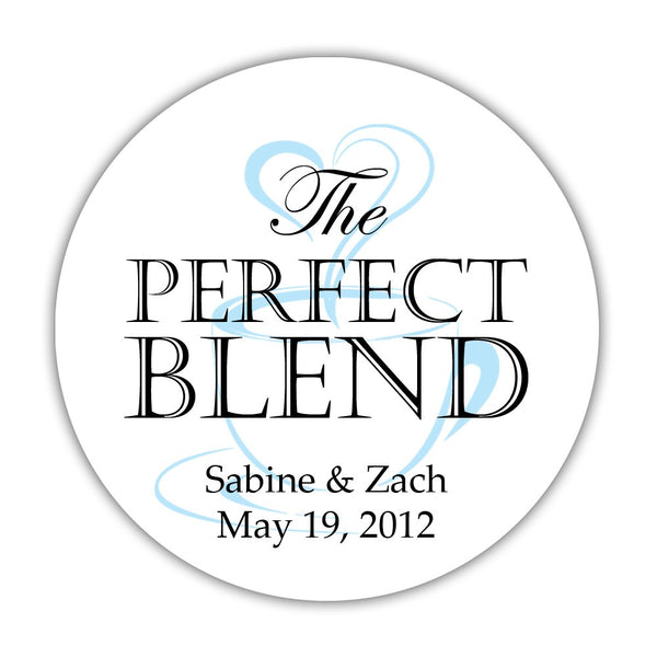 "The perfect blend stickers - 1.5"" circle = 30 labels per sheet / Black/Sky blue - Dazzling Daisies"