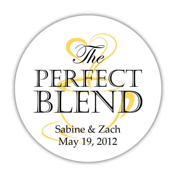 "The perfect blend stickers - 1.5"" circle = 30 labels per sheet / Black/Yellow - Dazzling Daisies"