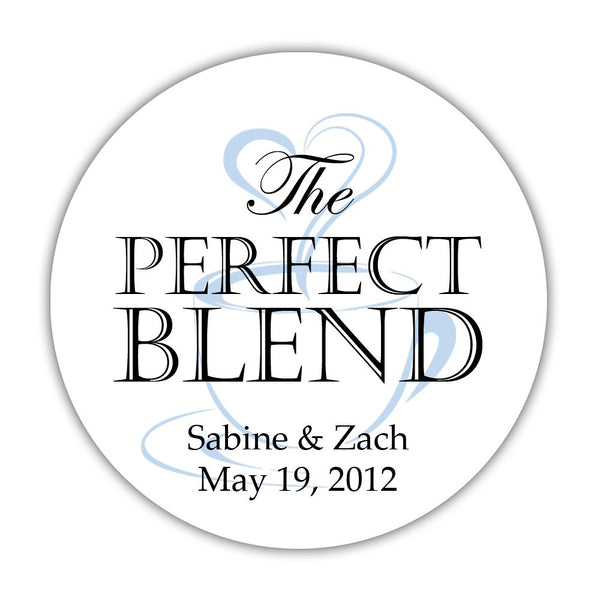 "The perfect blend stickers - 1.5"" circle = 30 labels per sheet / Black/Steel blue - Dazzling Daisies"