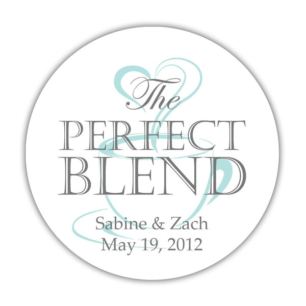 "The perfect blend stickers - 1.5"" circle = 30 labels per sheet / Gray/Aquamarine - Dazzling Daisies"
