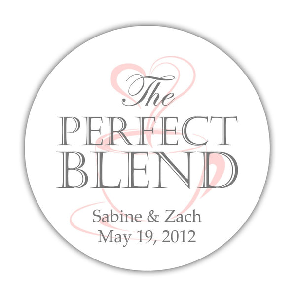 "The perfect blend stickers - 1.5"" circle = 30 labels per sheet / Gray/Blush - Dazzling Daisies"