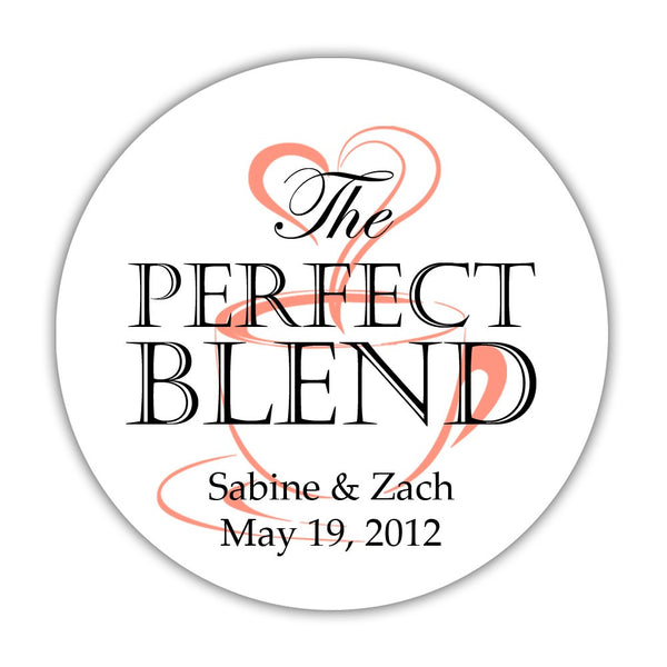 "The perfect blend stickers - 1.5"" circle = 30 labels per sheet / Black/Coral - Dazzling Daisies"