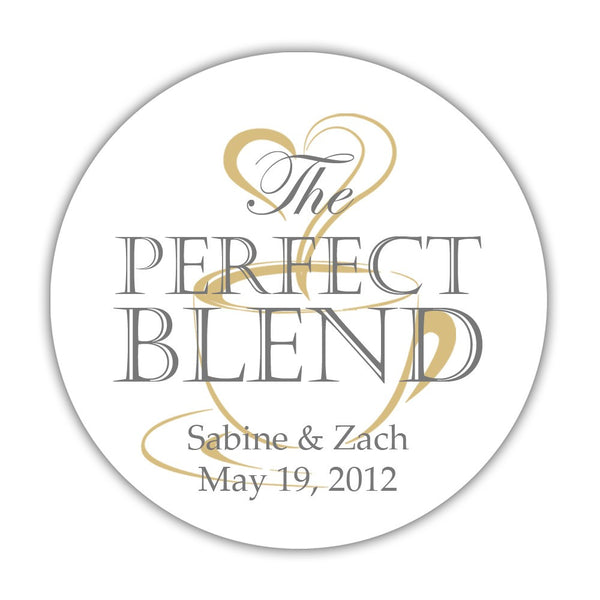 "The perfect blend stickers - 1.5"" circle = 30 labels per sheet / Gray/Gold - Dazzling Daisies"