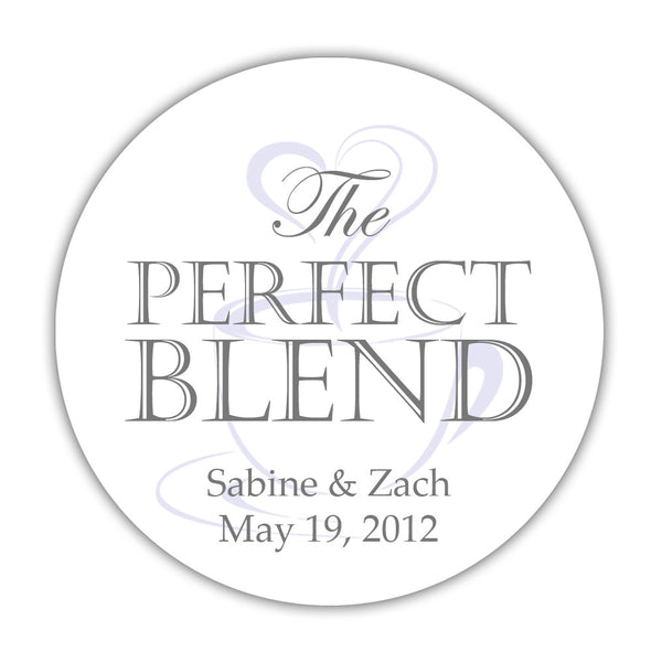 "The perfect blend stickers - 1.5"" circle = 30 labels per sheet / Gray/Lavender - Dazzling Daisies"