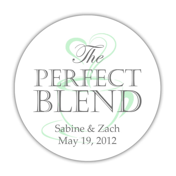 "The perfect blend stickers - 1.5"" circle = 30 labels per sheet / Gray/Mint - Dazzling Daisies"