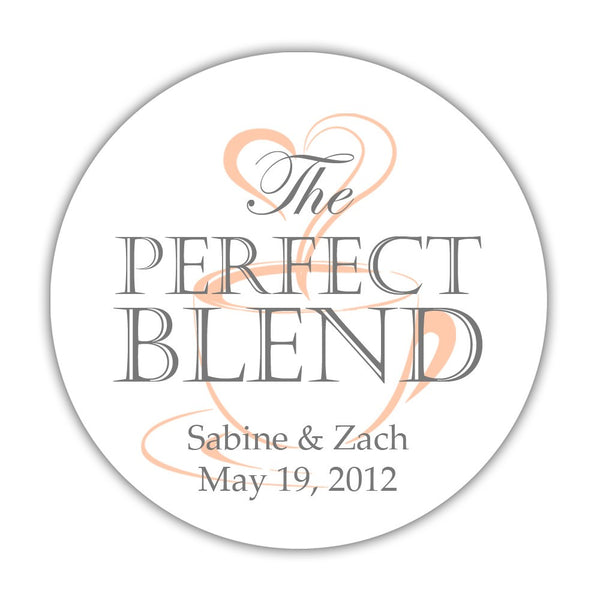 "The perfect blend stickers - 1.5"" circle = 30 labels per sheet / Gray/Peach - Dazzling Daisies"