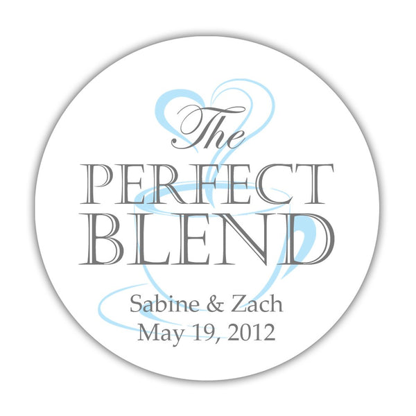 "The perfect blend stickers - 1.5"" circle = 30 labels per sheet / Gray/Sky blue - Dazzling Daisies"