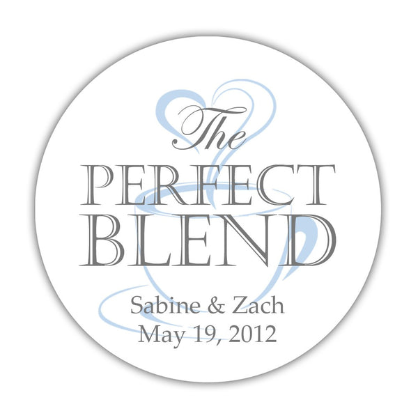 "The perfect blend stickers - 1.5"" circle = 30 labels per sheet / Gray/Steel blue - Dazzling Daisies"