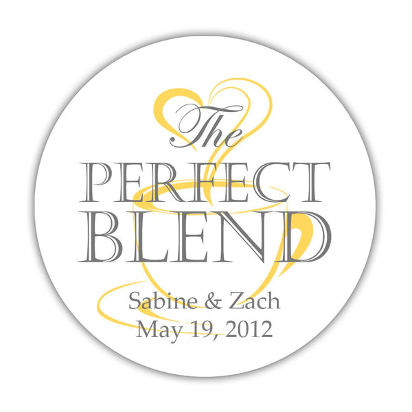 "The perfect blend stickers - 1.5"" circle = 30 labels per sheet / Gray/Yellow - Dazzling Daisies"