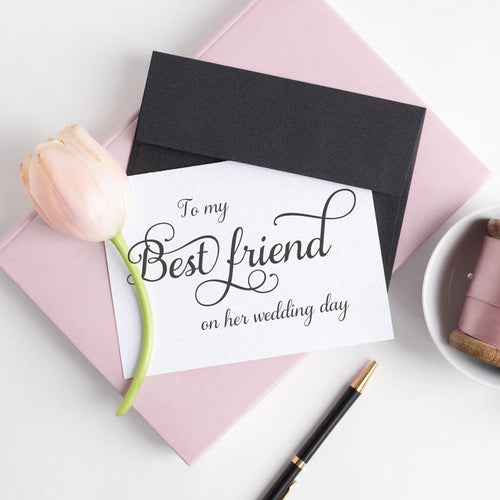 To my Best friend card elegant - White - Dazzling Daisies