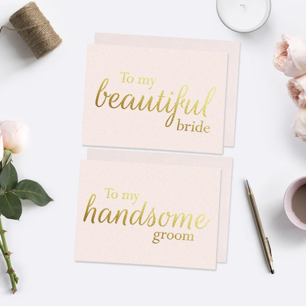 To my beautiful bride and handsome groom card foil - Blush / Gold foil - Dazzling Daisies