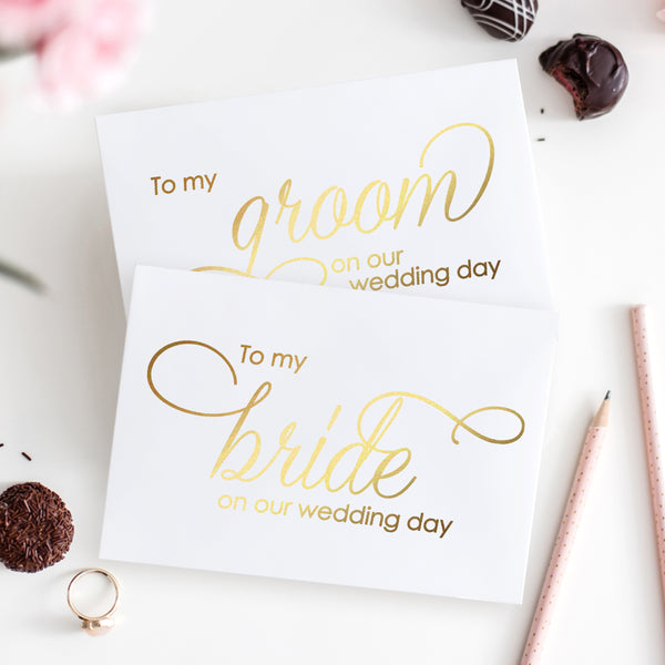 To my bride and to my groom cards 'Luxury Love' - Gold foil - Dazzling Daisies