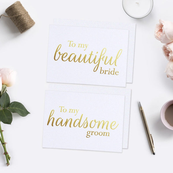 To my beautiful bride and handsome groom cards - White / Gold foil - Dazzling Daisies