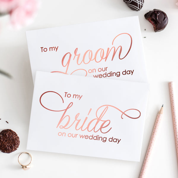 To my bride and to my groom cards 'Luxury Love' - Rose gold foil - Dazzling Daisies