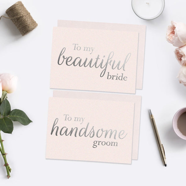 To my beautiful bride and handsome groom card foil - Blush / Silver foil - Dazzling Daisies