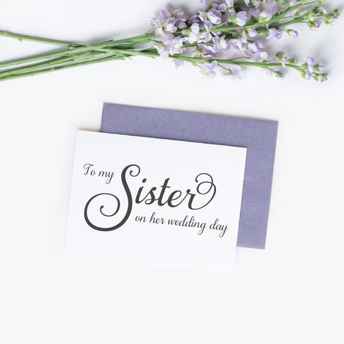 To my sister on her wedding day card elegant -  - Dazzling Daisies