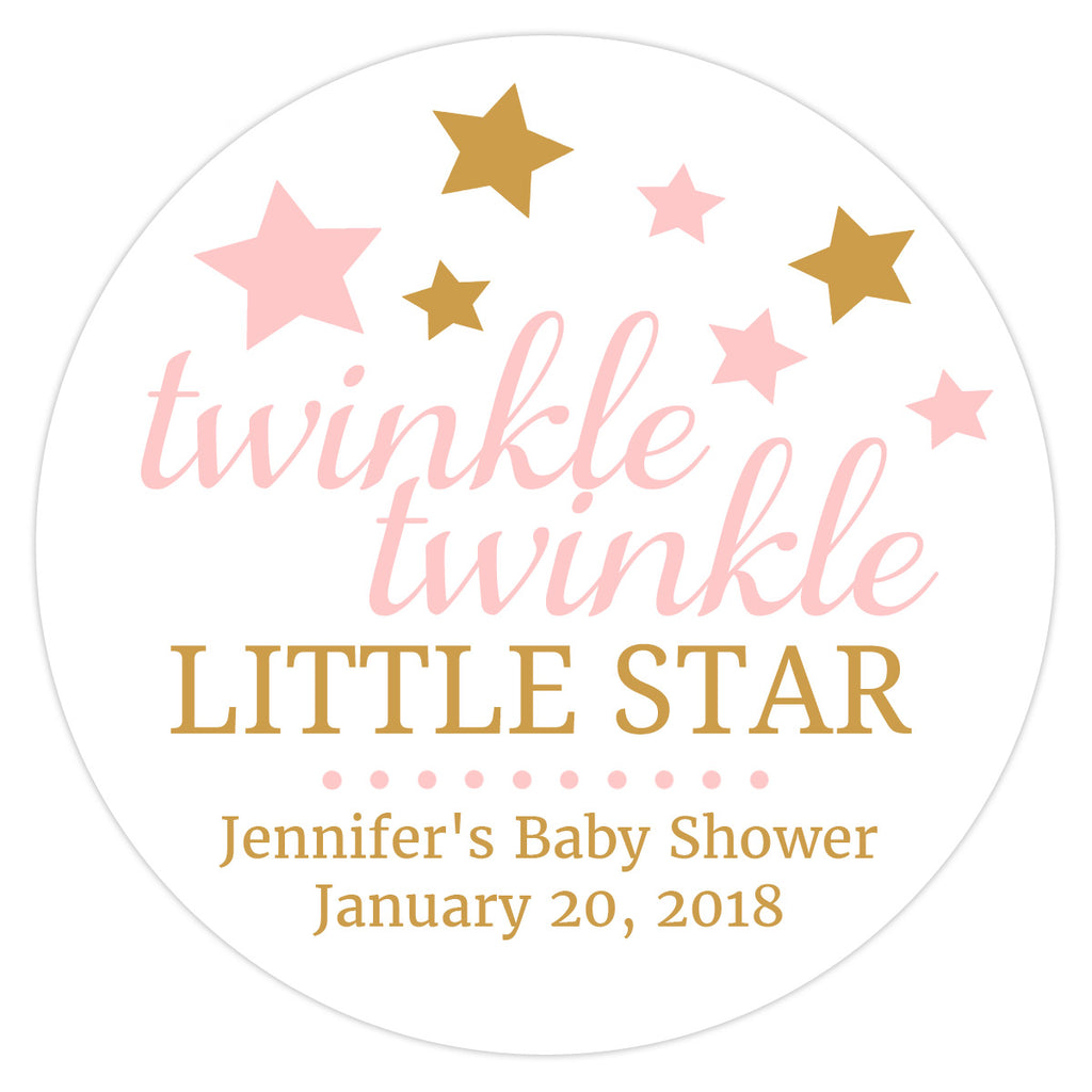 "Twinkle twinkle little star baby shower stickers - 1.5"" circle = 30 labels per sheet / Aquamarine - Dazzling Daisies"