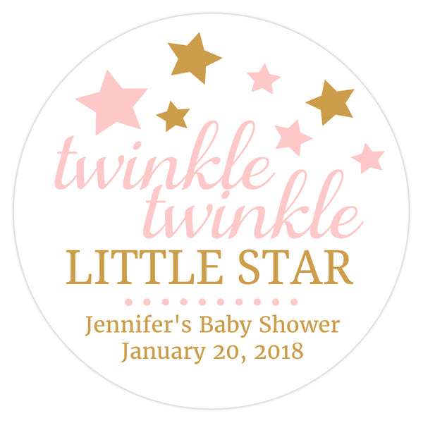 "Twinkle twinkle little star baby shower stickers - 1.5"" circle = 30 labels per sheet / Blush - Dazzling Daisies"