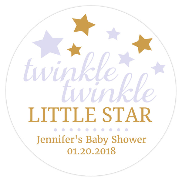 "Twinkle twinkle little star baby shower stickers - 1.5"" circle = 30 labels per sheet / Lavender - Dazzling Daisies"