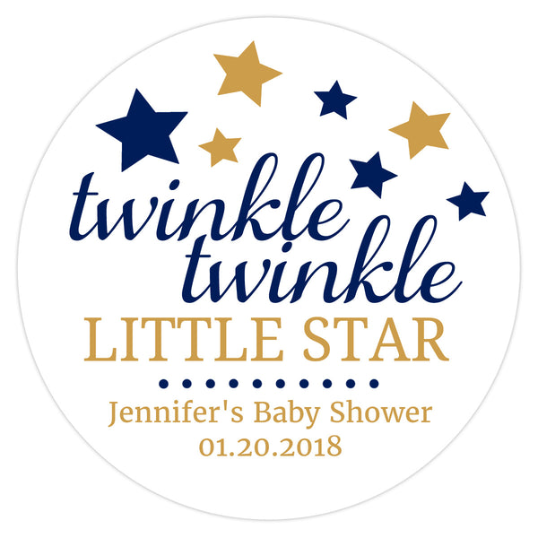 "Twinkle twinkle little star baby shower stickers - 1.5"" circle = 30 labels per sheet / Navy - Dazzling Daisies"