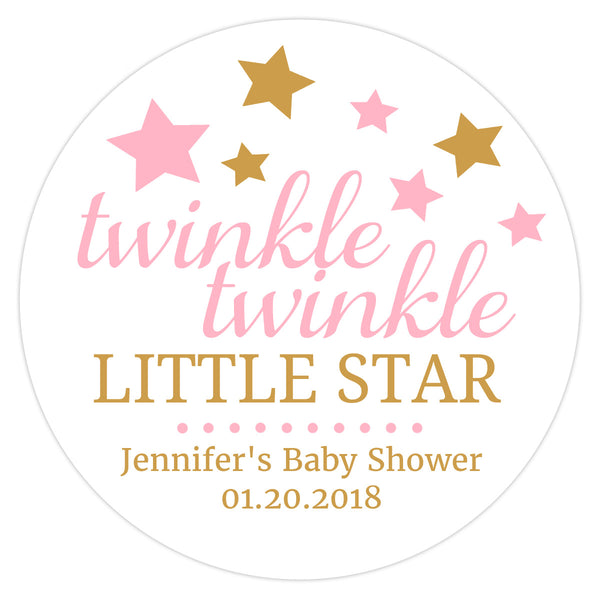"Twinkle twinkle little star baby shower stickers - 1.5"" circle = 30 labels per sheet / Pink - Dazzling Daisies"