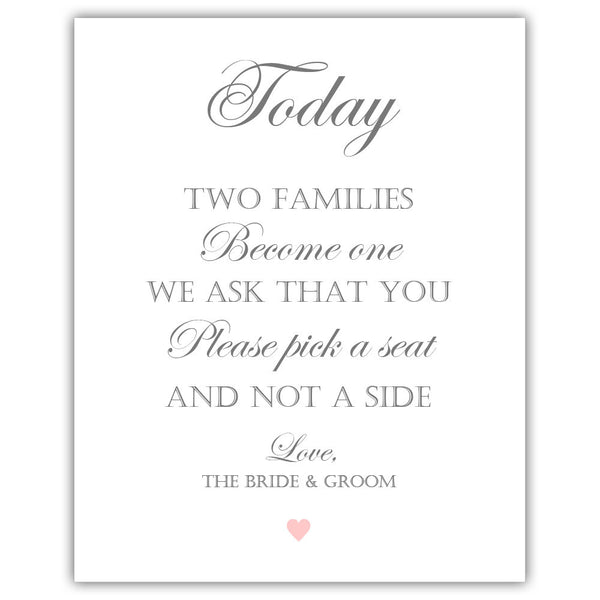 "Two families become one sign - 5x7"" / Blush - Dazzling Daisies"