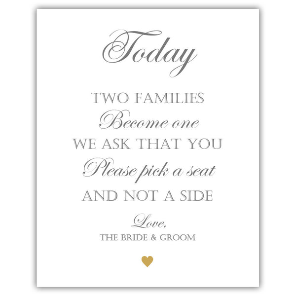 "Two families become one sign - 5x7"" / Gold - Dazzling Daisies"