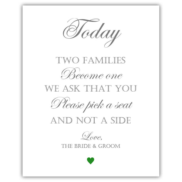 "Two families become one sign - 5x7"" / Green - Dazzling Daisies"