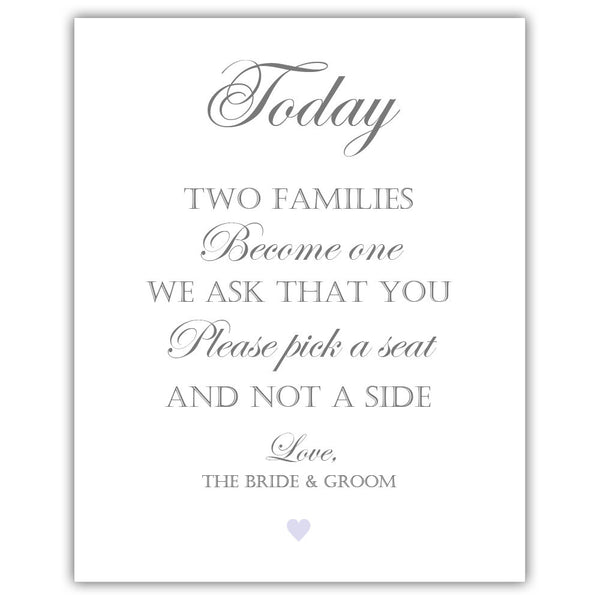 "Two families become one sign - 5x7"" / Lavender - Dazzling Daisies"