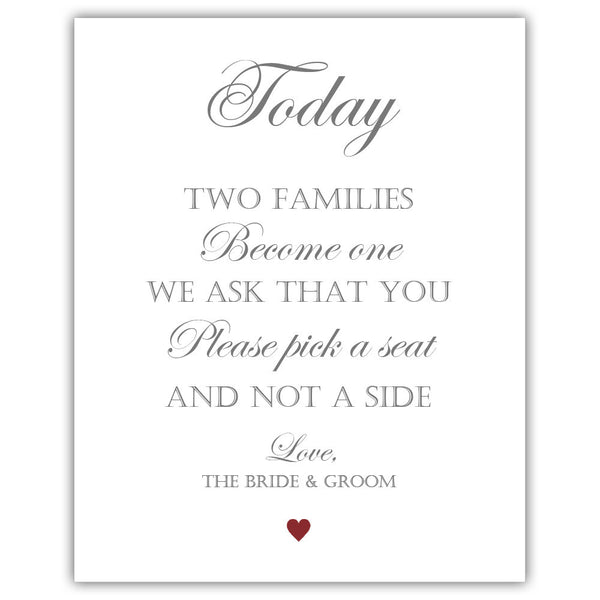 "Two families become one sign - 5x7"" / Maroon - Dazzling Daisies"
