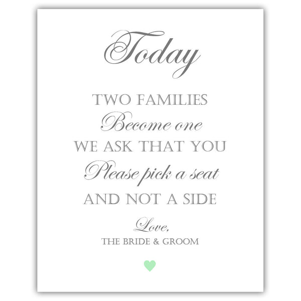 "Two families become one sign - 5x7"" / Mint - Dazzling Daisies"