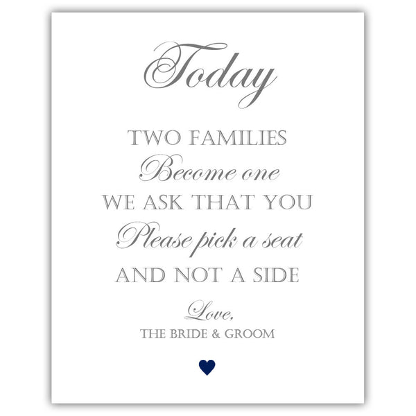 "Two families become one sign - 5x7"" / Navy - Dazzling Daisies"