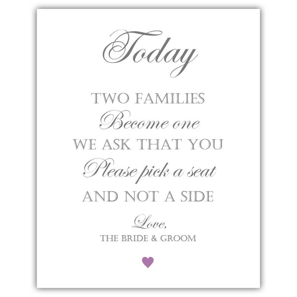 "Two families become one sign - 5x7"" / Plum - Dazzling Daisies"